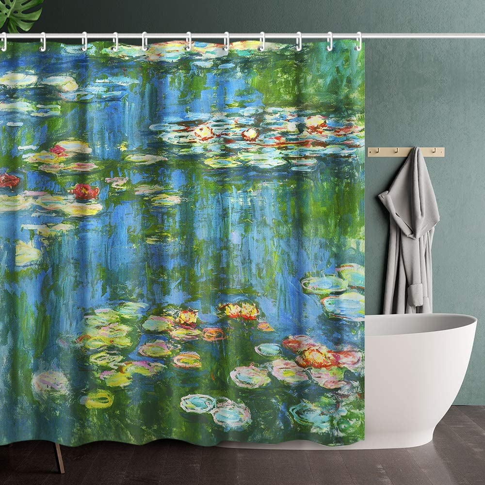 invin art bathroom shower curtain set with hooks water lily pond 1914 by claude monet home art paintings pictures for bathroom