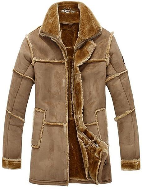 YYZYY Hombre Invierno Grosor Calientes luxuriös Ante Piel Abrigos Chaqueta de Cordero Forro Pelo Planeador Abrigo