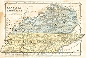 Amazon Com Poster Foundry Kentucky And Tennessee Vintage 1855
