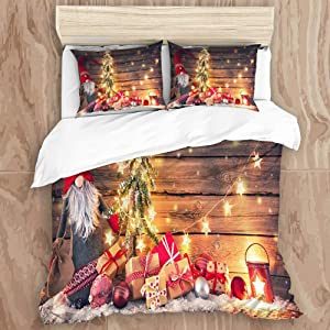 ROSECNY Microfiber Duvet Cover Set,Santa Claus Dwarf Holds Fir Tree Christmas Lights Surrounded Gift Boxes Glowing Lantern Rustic Wooden,Luxury Printed Quilt Cover Set 2 Pillowcases Full/Queen