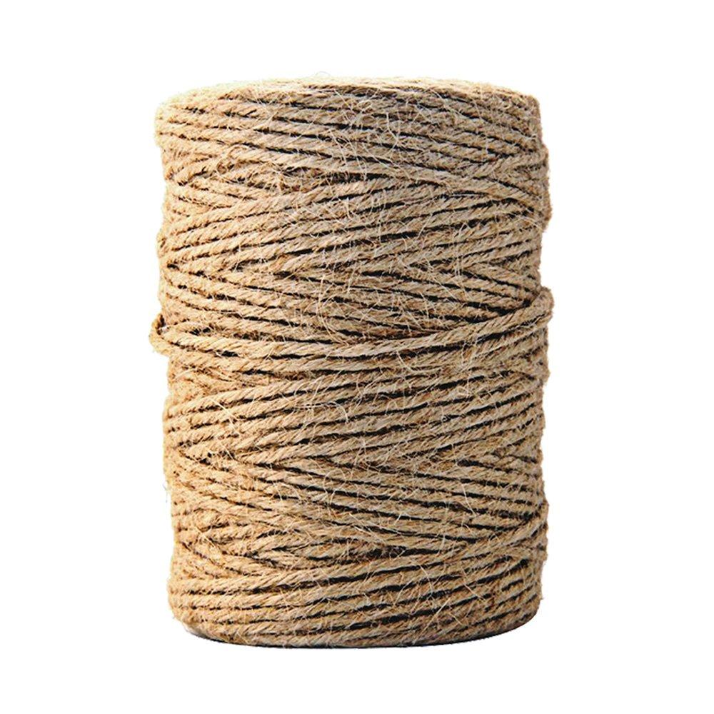CiaraQ Natural Yute Twine mejor Arts Crafts – Cordel de regalo Twine Industrial de embalaje Materiales resistente cadena para jardinería aplicaciones 328 pies