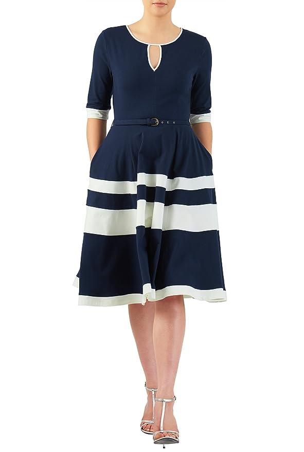1950s Dress Styles: 8 Popular Vintage Looks eShakti Womens Contrast banded stripe cotton knit belted dress $58.95 AT vintagedancer.com