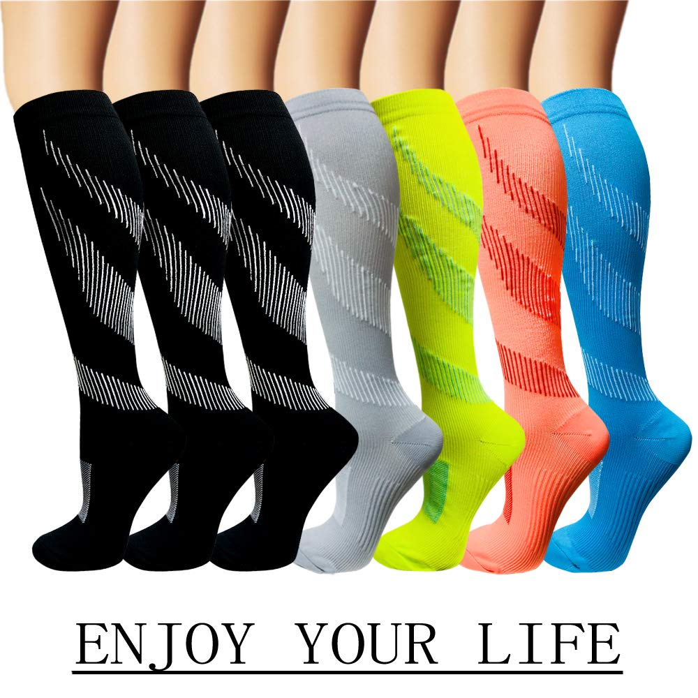 7 Pack Copper Knee High Compression Socks For Men & Women-Best For Running,Athletic,Medical,Pregnancy and Travel -15-20mmHg (S/M, Multicoloured 10)