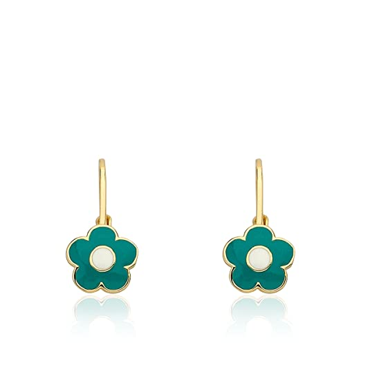 "Little Miss Twin Stars ""Frosted Flower"" 14k Gold-Plated Turquoise Enamel Flower Leverback Earrings"