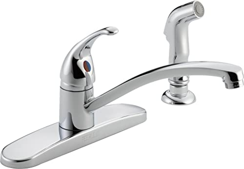 Delta Faucet P188501LF Choice, Single Handle Kitchen Faucet with Matching Side Spray, Chrome