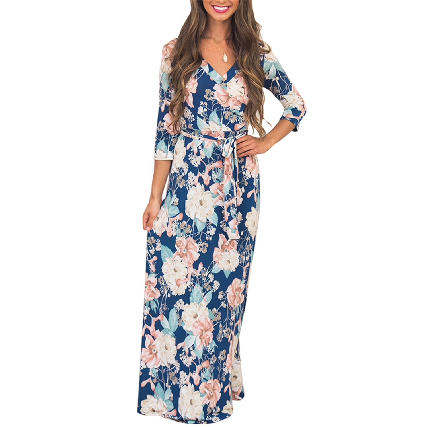 Sky-Pegasus Bohemian Floral Print 3/4 Sleeve Maxi Dress Women 2018 Summer Boho Robe Femme V Neck at Amazon Womens Clothing store: