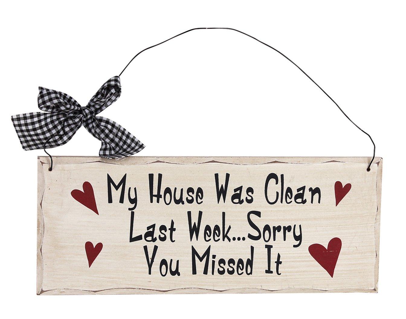 Attraction Design My House was Clean Wood Folk Wisdom Plaque