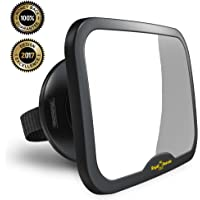 NEW & IMPROVED MODEL | ROYAL RASCALS Baby Car Mirror | #1 SAFEST rear view mirror for rearward facing child seat | BLACK | Fits any adjustable headrest | 100% shatterproof | ULTRA PREMIUM SAFETY PRODUCT