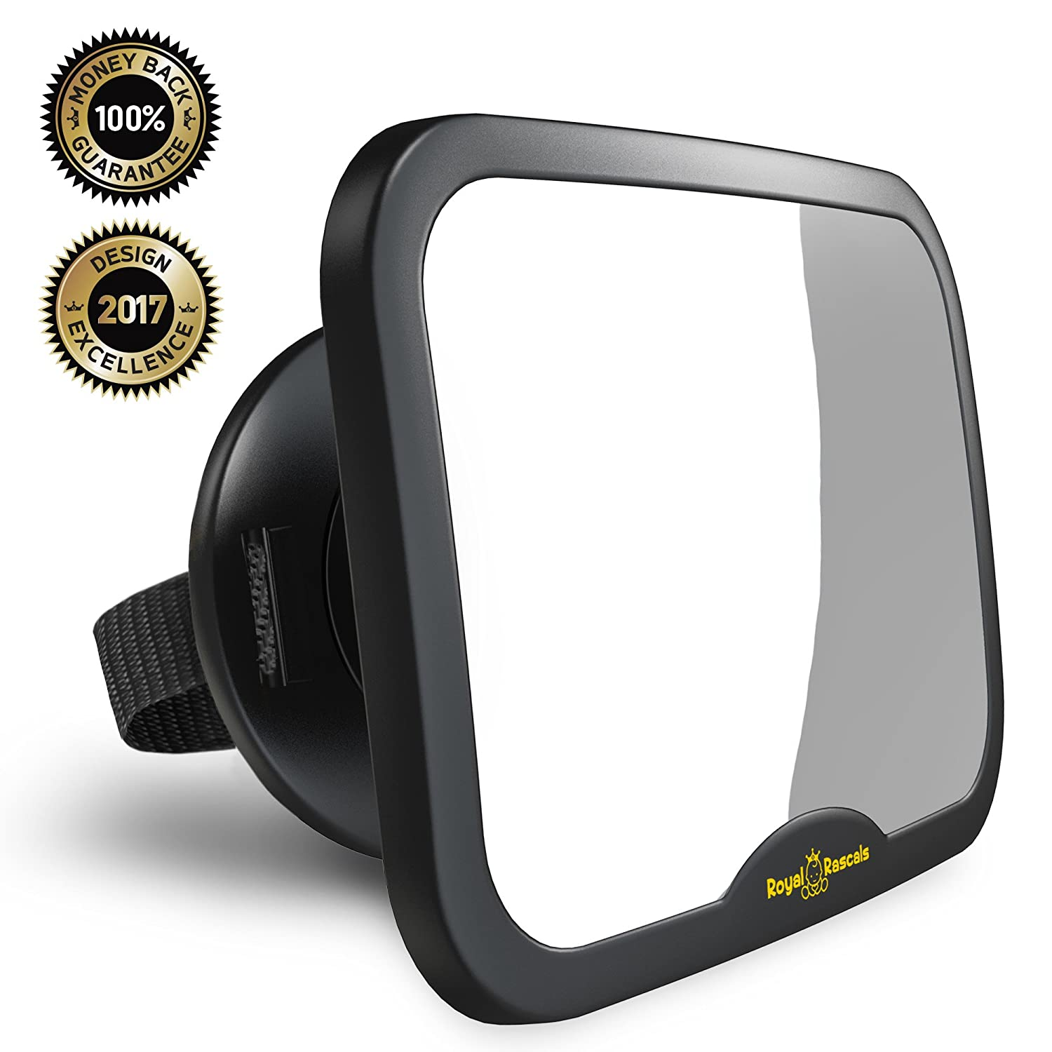 NEW & IMPROVED MODEL | ROYAL RASCALS Baby Car Mirror | #1 SAFEST rear view mirror for rearward facing child seat | BLACK | Fits any adjustable headrest | 100% shatterproof | ULTRA PREMIUM SAFETY PRODUCT XLR-5