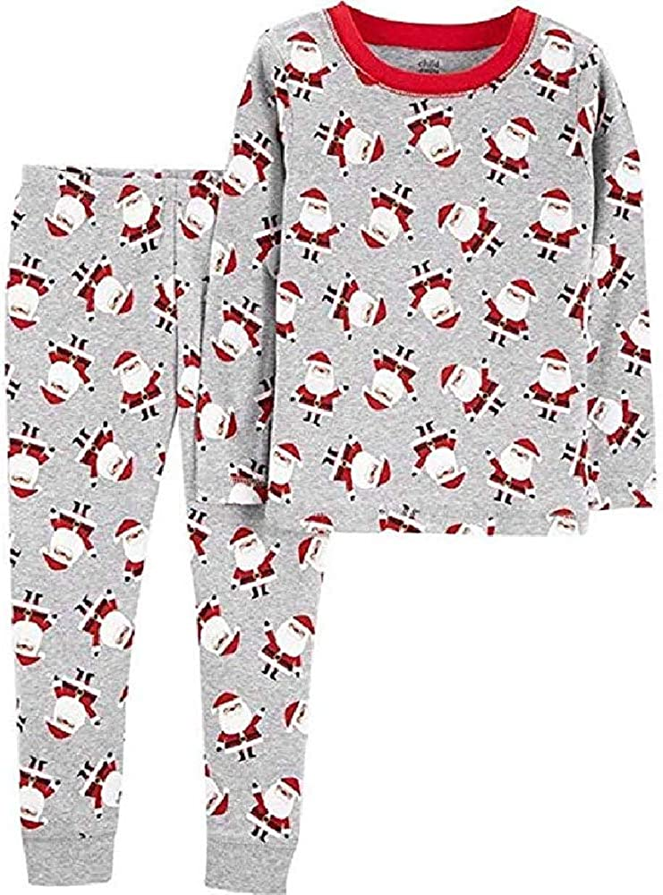 4T Grey Child of Mine Santa Pajamas 2 Piece Cotton Tight Fit