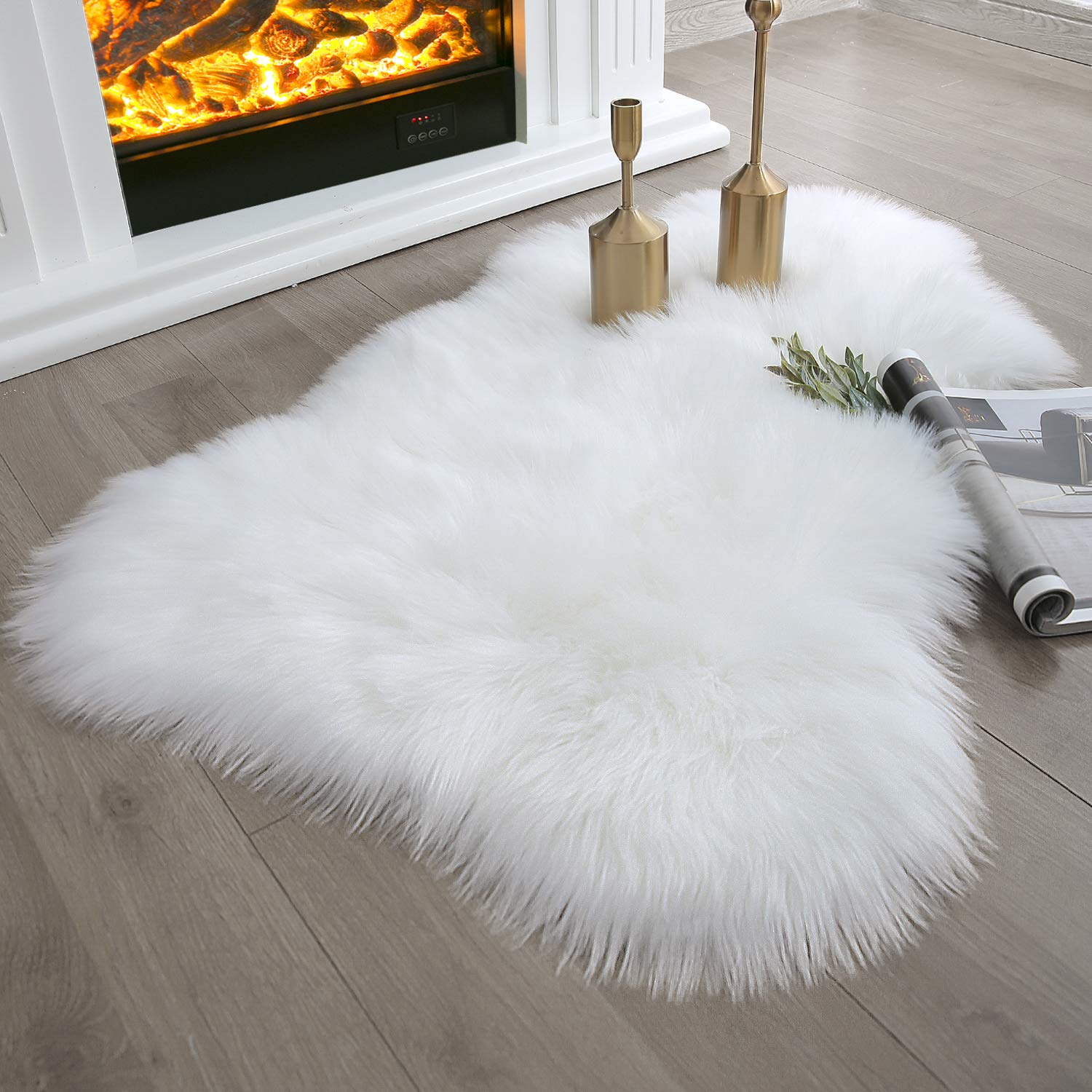 Ashler Soft Faux Sheepskin Fur Chair Couch Cover White Area Rug Bedroom