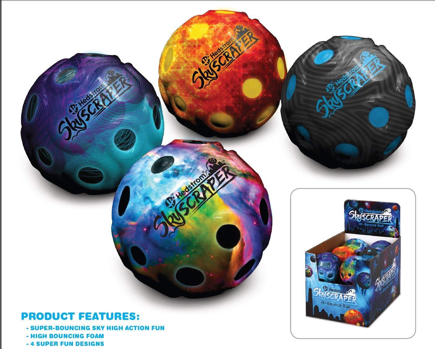 Hedstrom Skyscraper High Bounce Balls Pack of 12 68 mm 53-4040PDQAZ Assorted Designs