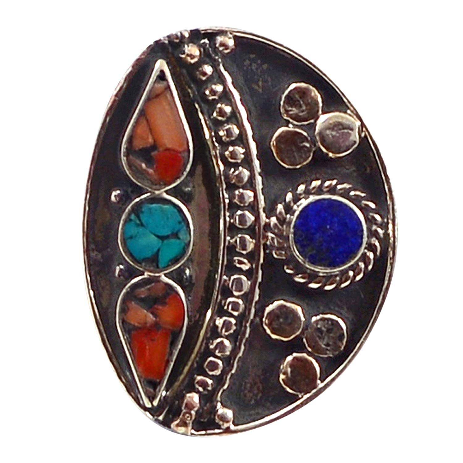 Turquoise /& Lapis Lazuli 925 Silver Plated Ring Sz 7 PG-117785 Saamarth Impex Coral