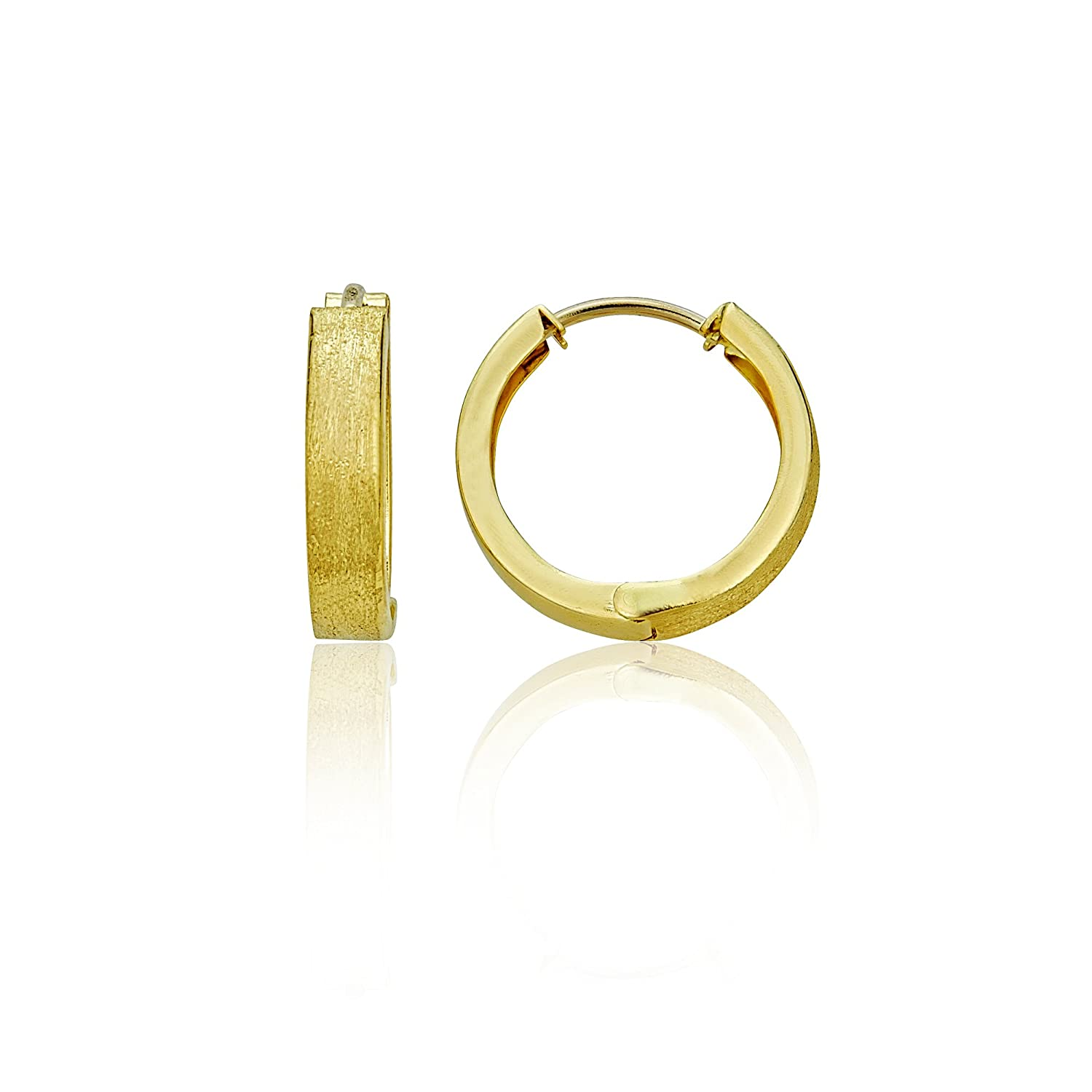 14K Yellow Gold High Polished and Textured 2.90x15.00mm Huggie Earring