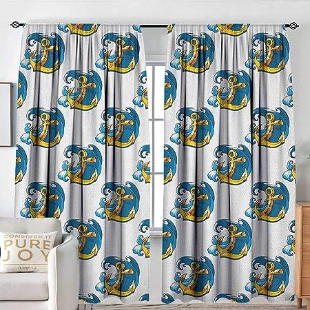 Anchor - Cortina para puerta corredera, diseño de símbolo marino sobre tablones de madera desgastados, estilo rústico náutico, cortinas decorativas para sala de estar, color azul pálido, marrón y verde azulado: Amazon.es: