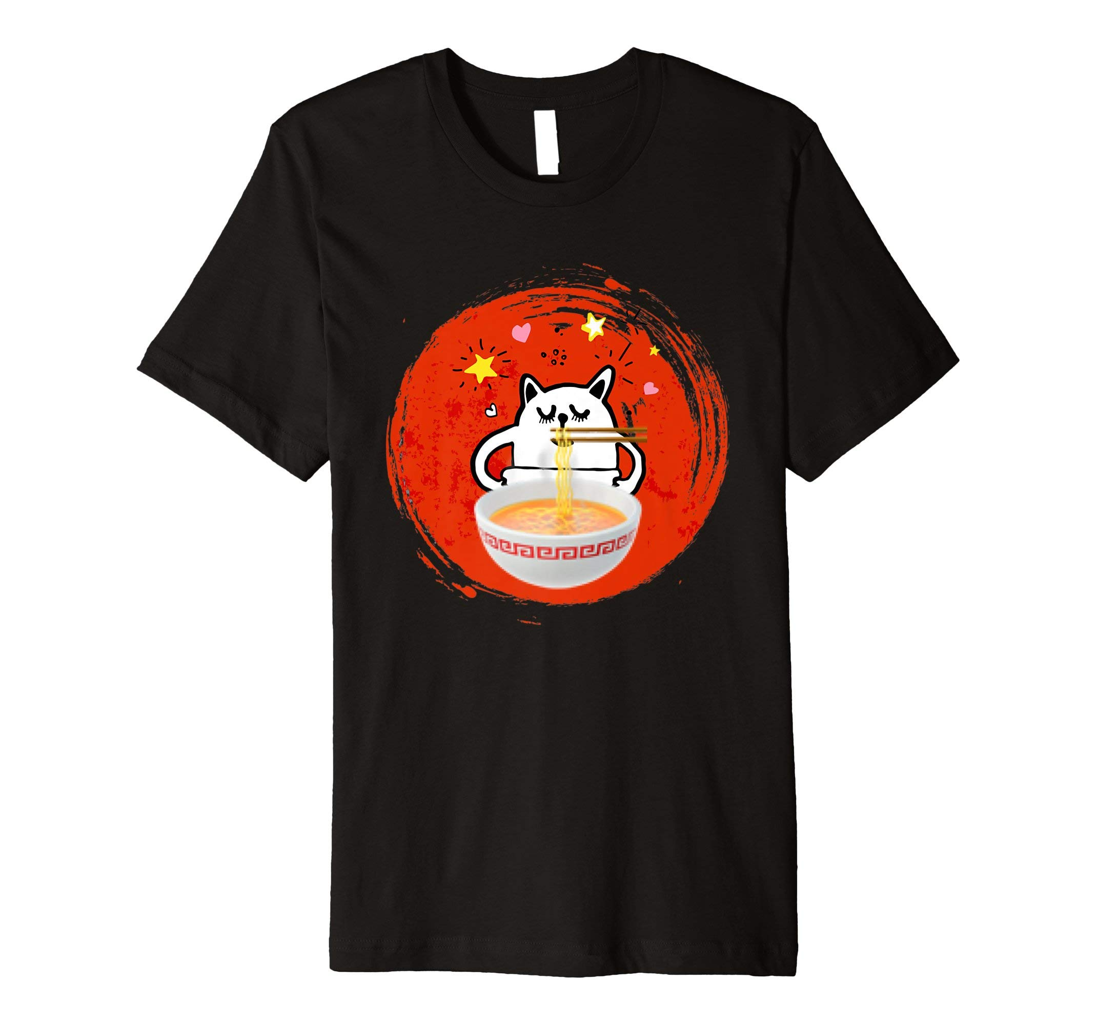 Kawaii Anime Cat & Ramen Noodle Funny Gift T Shirt