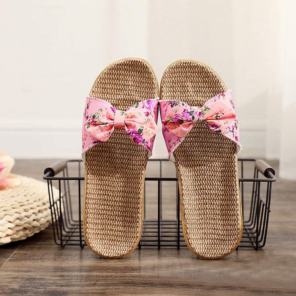 TTLOVE Damen Flip Flops Bowknot Flachs Leinen Strand Schuhe Flache Hausschuhe rutschfest Sandalen Slipper Badeschuhe Outdoor Bequem Leichte Sandalen Hausschuhe