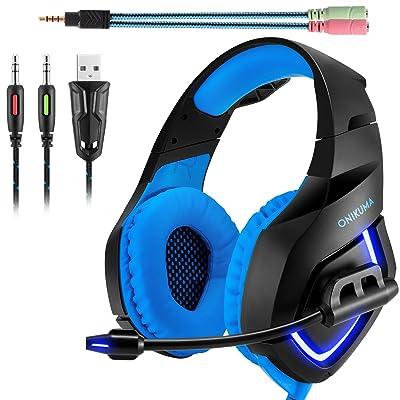 Auriculares Gaming Stereo ONIKUMA K1. Auriculares de Diadema con microfono para Xbox 360/Xbox one s / PS3 / PS4 / PC / Teléfonos Móviles. Con Iluminación LED(Azul+Negro)