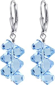 Swarovski Crystals Handmade Drop Earrings with Sterling Silver Leverback