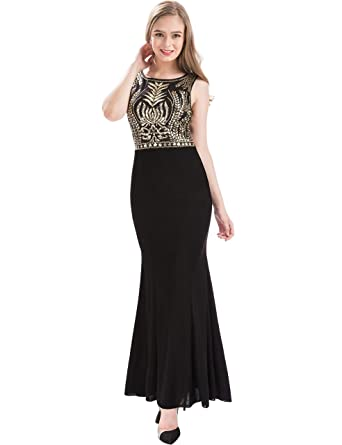 MANER Womens Glitter Glass Beads Sequin Long Formal Gowns Mermaid Evening Prom Dresses (Black/