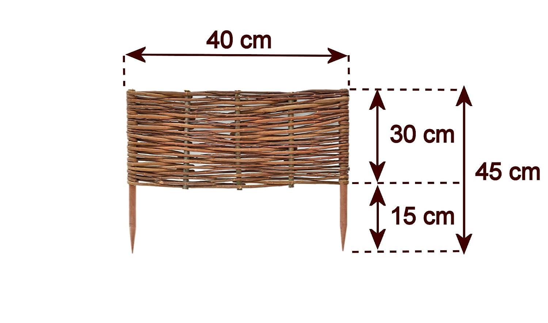 Altura:10 cm estacas de Haya Bordes para c/ésped Valla Madera en 25 tama/ños Diferentes Longitud:30 cm Mimbre impermeabilizado empalizada Floranica/® Bordura Natural para jard/ín