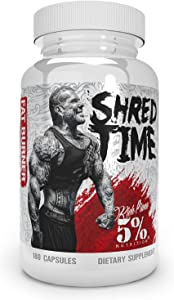 5% Nutrition Shred Time Fat Burner | Green Tea, Coffee Bean, Cayenne, Theobromine, GBB | Appetite Suppression | 30 Servings (180 Capsules)