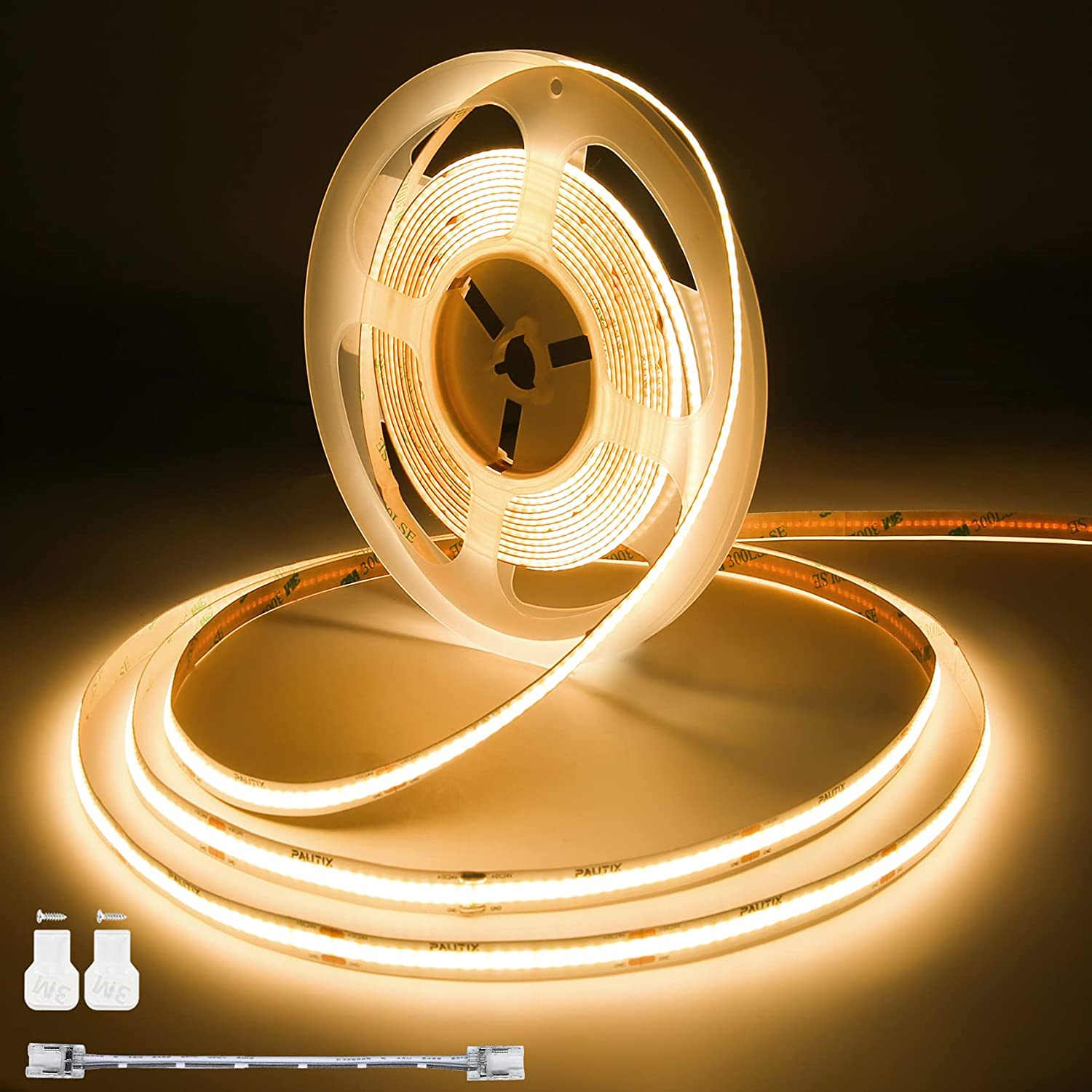 COB LED Strip Lights Super Bright,PAUTIX 20ft/6.1m Warm White 2700K CRI90+ Flexible LED Tape,DC24V for Cabinet Home DIY Lighting Projects with 1pcs COB Connector Wire(Power Supply Not Included)