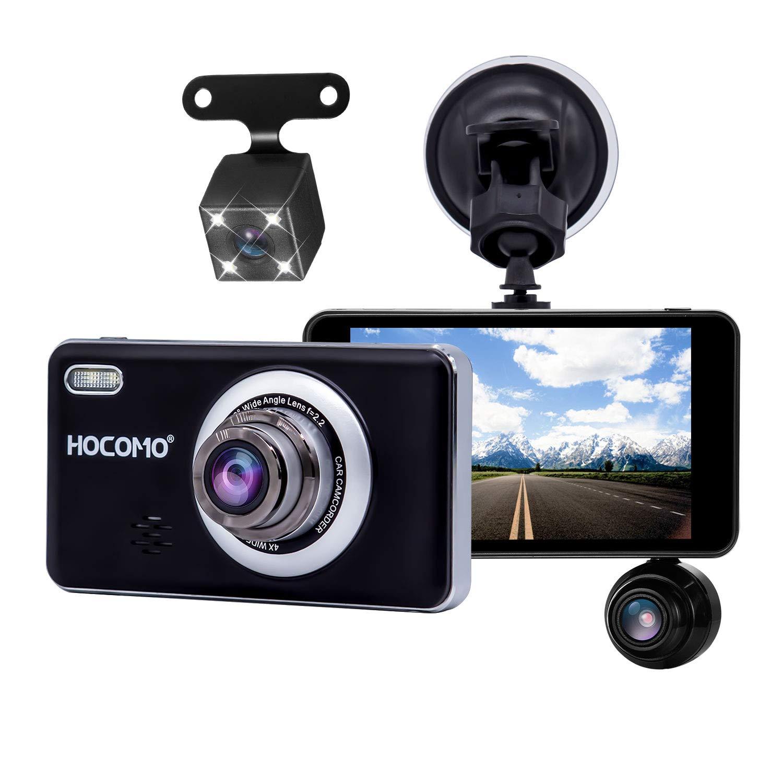 Car Dash Cam, HOCOMO Car Dashboard Camera 170°Wide Angle 4'' IPS Screen 1080P FHD DVR Dash Cam Front & Rear & Inside Camera Recorder with G-Sensor, WDR, Night Vision, Loop Recording (Black)