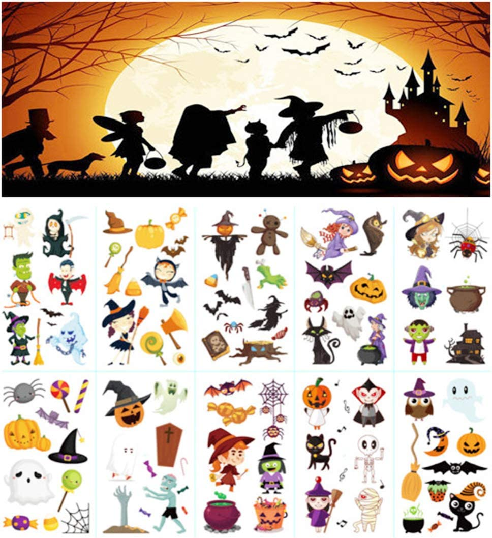 10 Sheets Temporary Tattoo Fun Pumpkin Stickers Props for Kids, Halloween Party Cos Play Prank Stickers