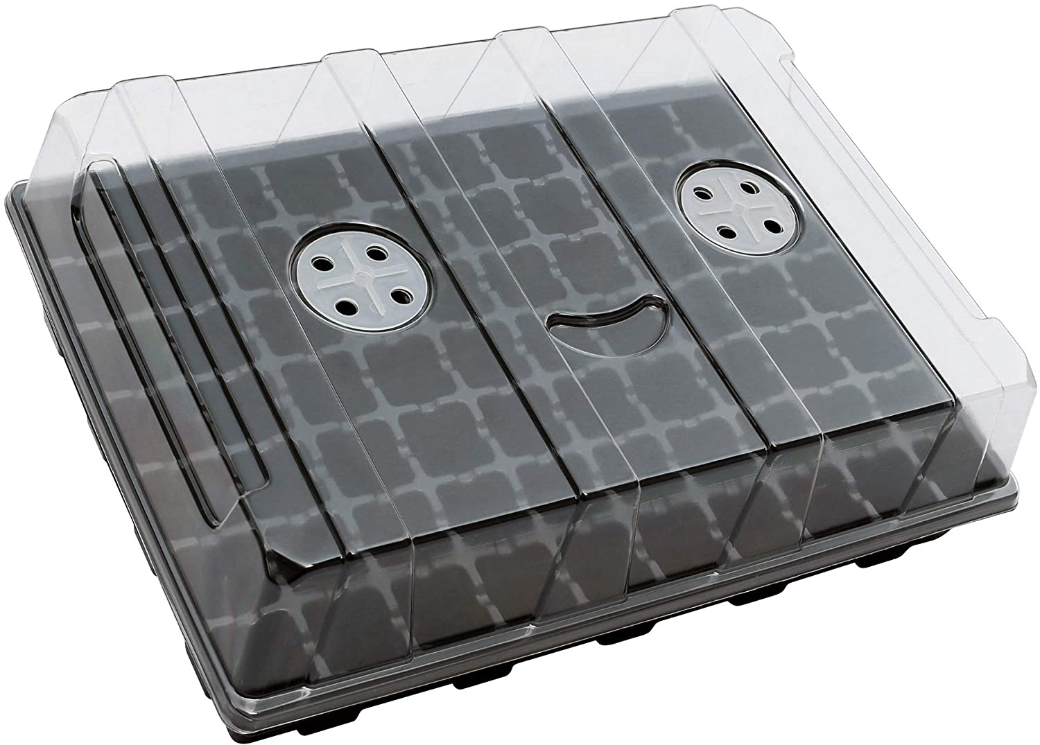 """Gardzen 5-Set Garden Propagator Set, Smiling Face Seed Tray Kits with 350-Cell, Seed Starter Tray with Dome and Base 18"""" x 14"""" (70-Cell Per Tray)"""