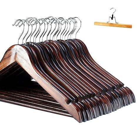 Perchas Antideslizante Maciza Meqution Diseño Madera Con Traje qHn8OnE