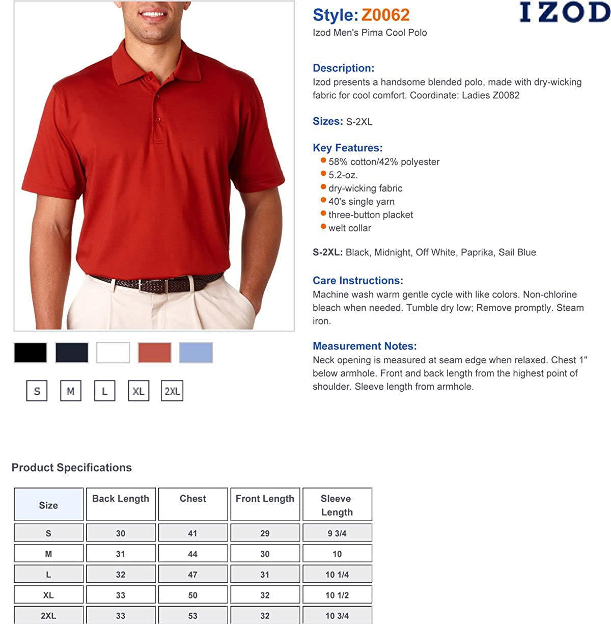 Izod golf size chart size charts measurements jcpenney for Izod shirt size chart