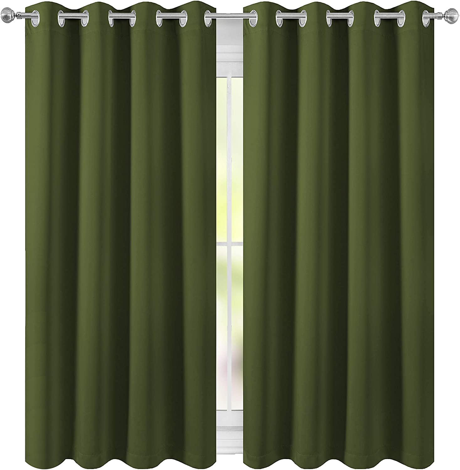 52 x 63 inch Beige FLOWEROOM Room Darkening Blackout Curtains Thermal Insulated Draperies with Grommet for Living Room 2 Panels