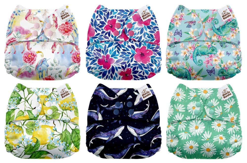 6 Pack with 6 One Size Microfiber Inserts Black /& White Mama Koala One Size Baby Washable Reusable Pocket Cloth Diapers