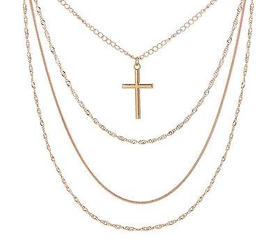 75a1dcbf55d9 Epinki Oro Cadena Mujer Collar Multicapa 3 Capa Cruzar Colgante Cadena Oro  32-45CM  Amazon.es  Joyería