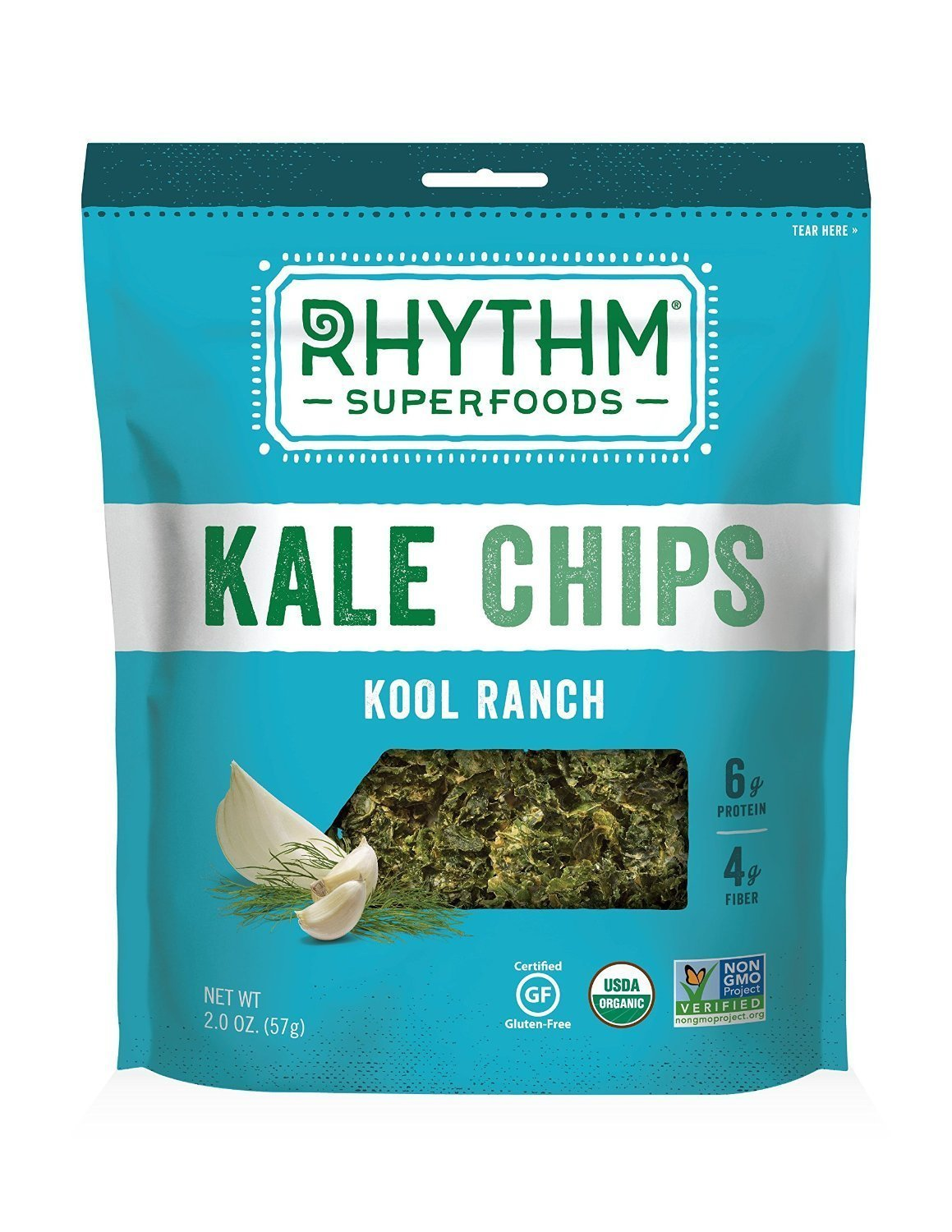 Amazon.com : Rhythm Superfoods Kool Ranch Kale Chips, 2-Ounce (Pack ...