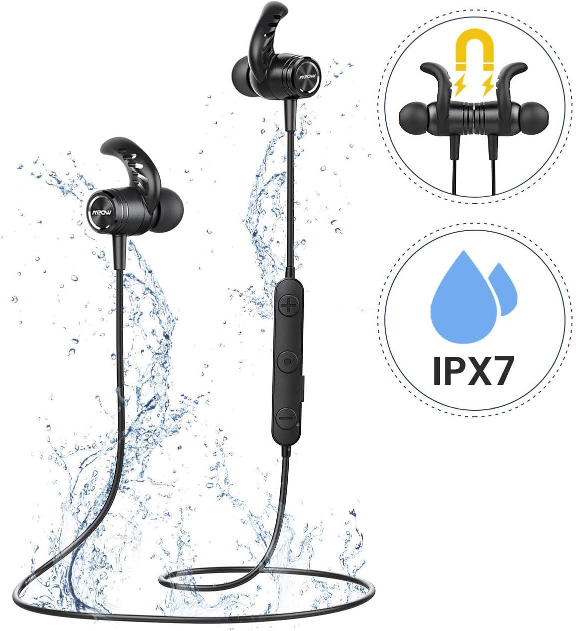 Mpow Auriculares Bluetooth 5.0, S10 IPX7 Deportivos Inalámbrico Magnético In Ear Estéreo CVC 6.0 Micrófono con Cancelación de Ruido para Deportes, Oficina en Casa, Trabajo para iPhone Android