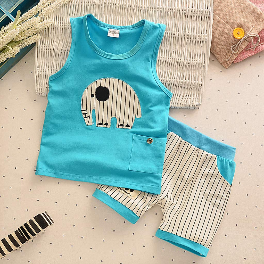 Kids Boy Short Vest Suit, Baby Summer O-Neck Cartoon Stripe Shorts Sport Outfits Clothes Set For 0-3 Years (6-12 Months, Blue) by Hopwin Baby Boys Suits (Image #3)