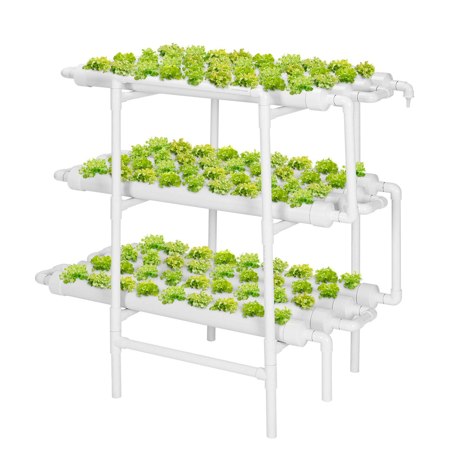 VIVOSUN Hydroponic Grow Kit, 3 Layers 108 Plant Sites 12 PVC Pipes Hydroponics Growing System with Water Pump, Pump Timer, Nest Basket and Sponge for Leafy Vegetables
