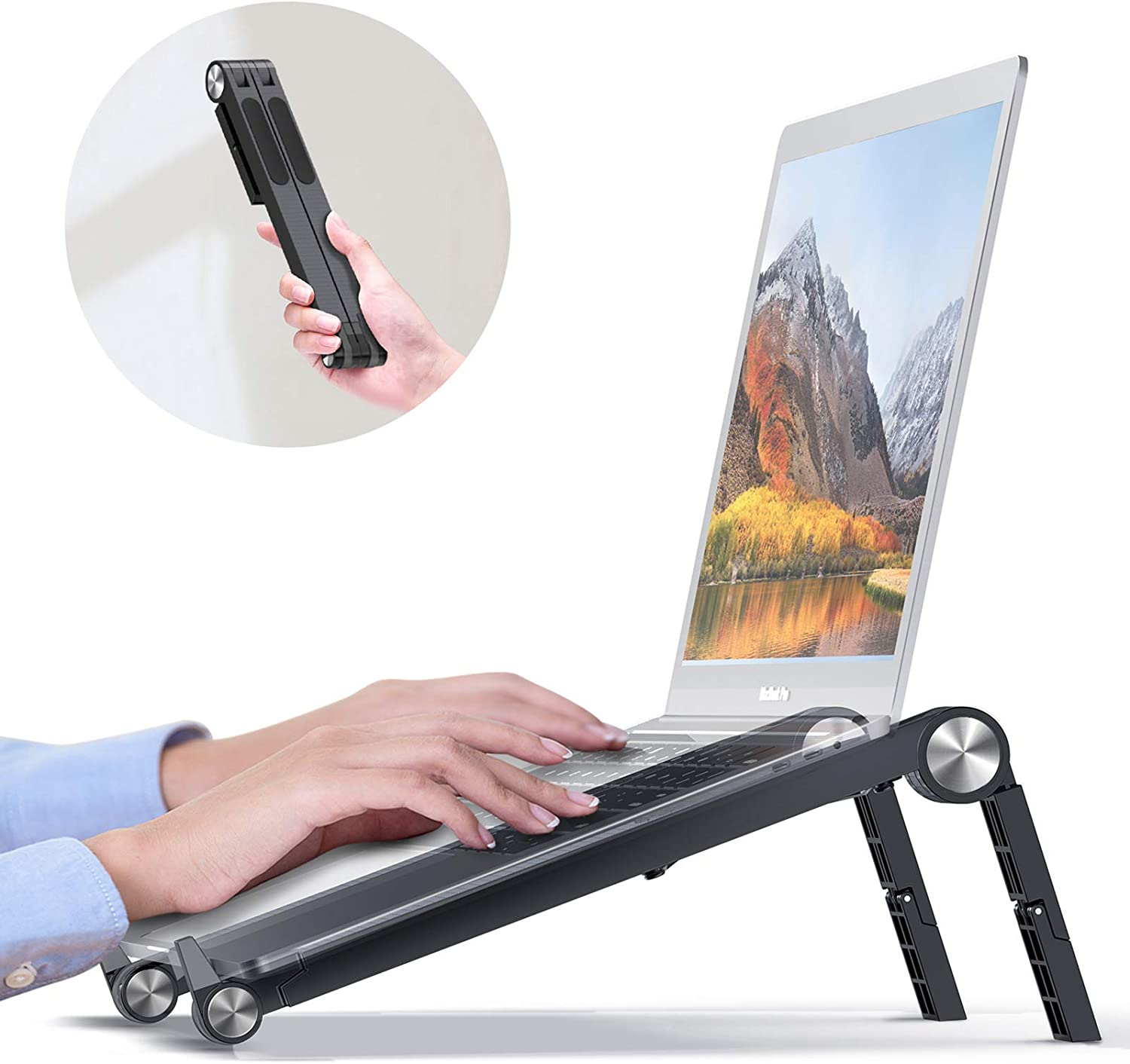 Portable Laptop Stand Foldable, DesertWest Ergonomic Laptop Stand for Desk Adjustable Height Ventilated [Super Lightweight] Laptop Riser for MacBook Air Pro HP Lenovo XPS Asus 13 14 15 16 Inch, 7.2 OZ