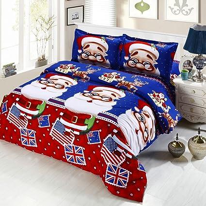 anself 4pcs christmas bedding sets duvet cover bed sheet 2 pillow case - Christmas Bedding Sets