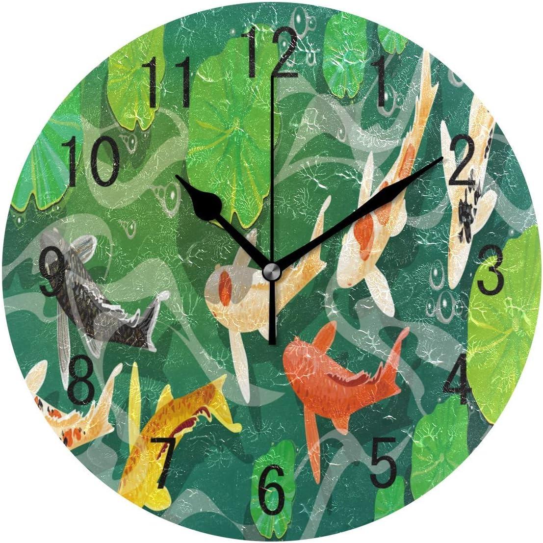 wallxxj Reloj Colgante Redondo Carpa Koi Pez Bajo El Agua Lotus Leaf School Reloj De Pared Redondo Decoración para El Hogar Cocina Sin Tictac Silencioso Sala De Estar Reloj Dormitorio Art
