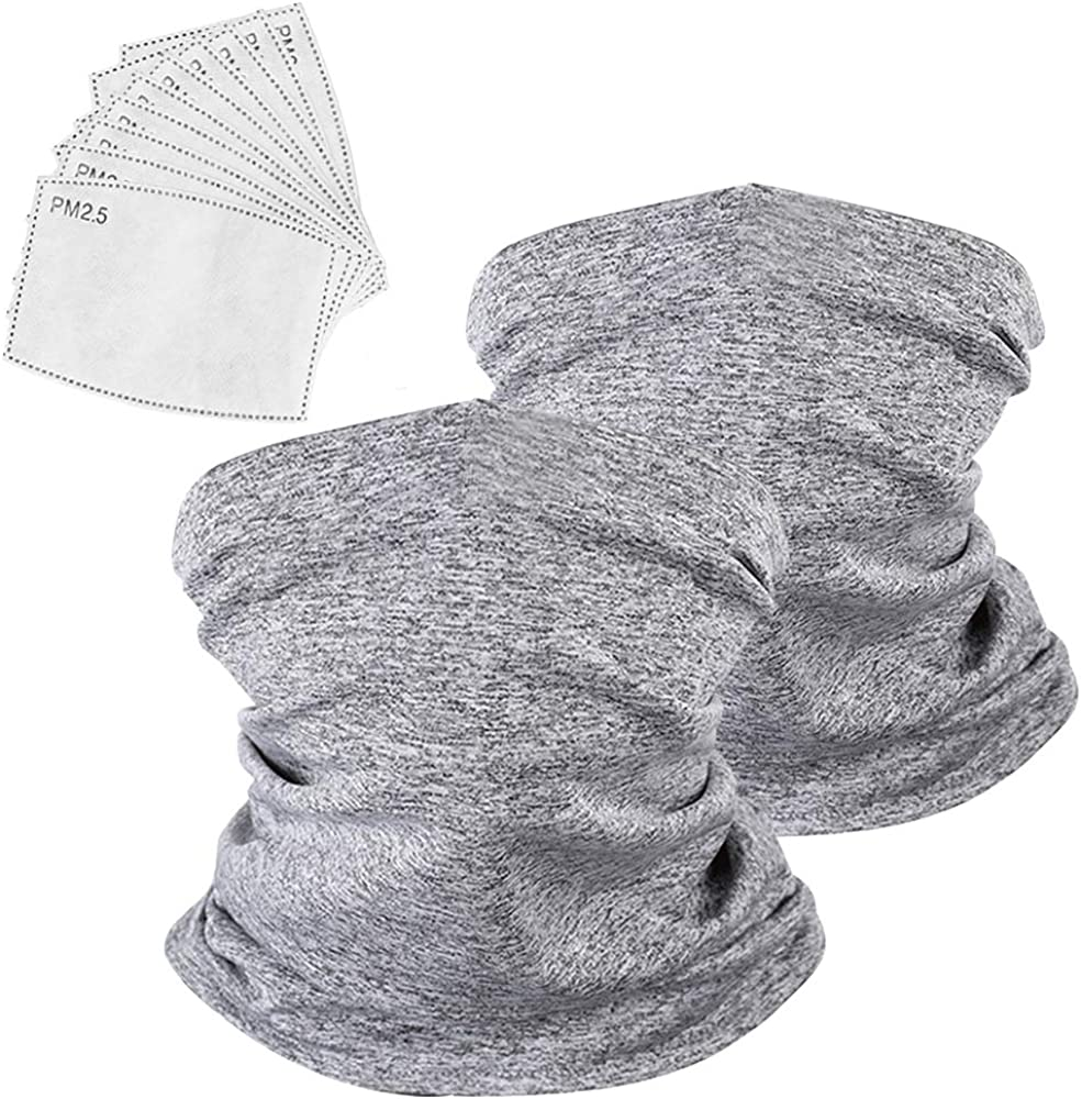 2 Pack Multi-purpose Neck Gaiter with 10Pcs Safety Carbon Filters Ultra-Breathable Scarf Balaclava Novelty Headband Bandana for Men Women