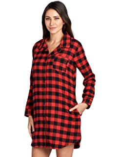 Ashford   Brooks Women s Flannel Plaid Sleep Shirt Button Down Nightgown 23100c9c4