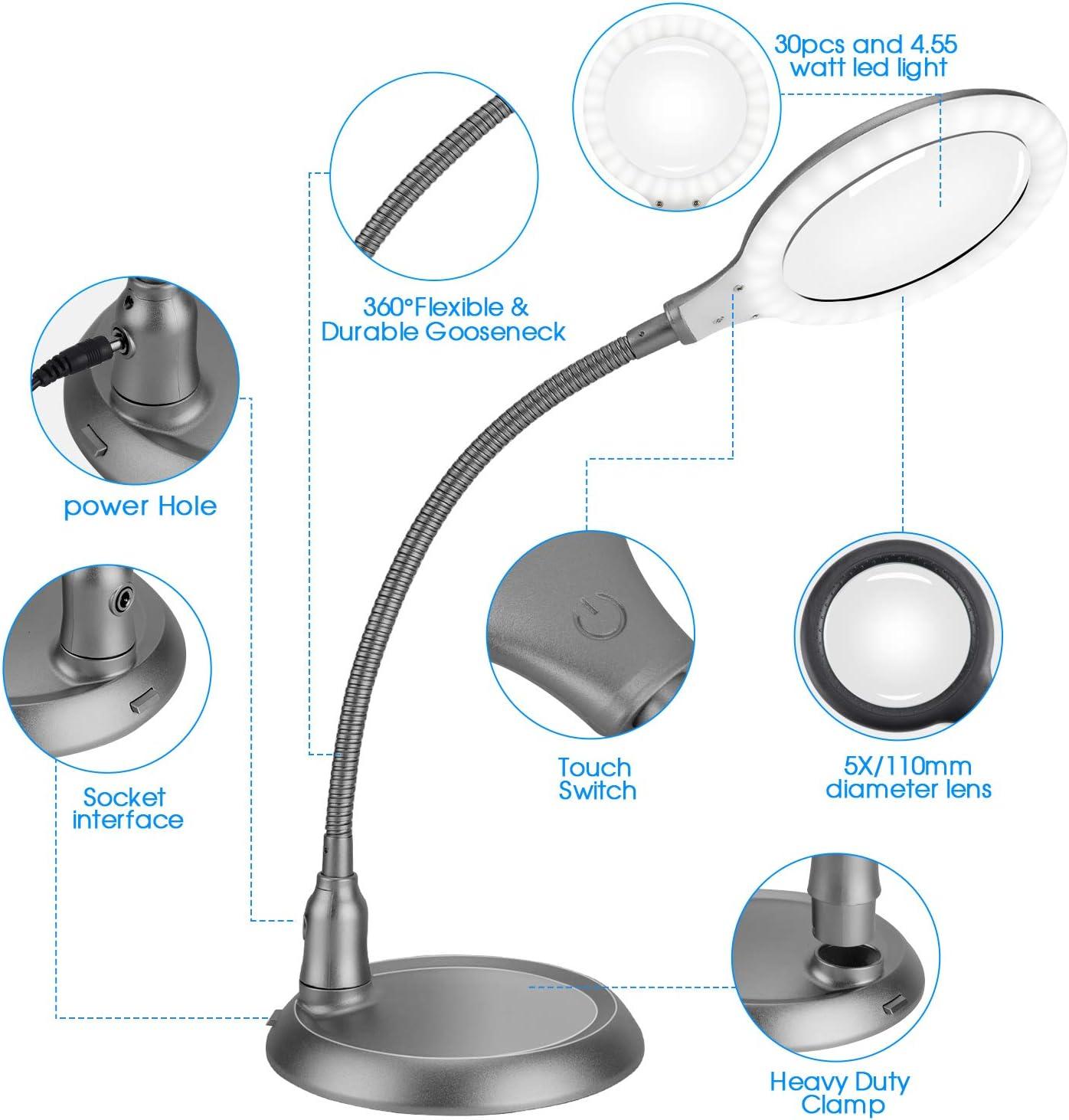 avec lumi/ère et support pour loisirs cr/éatifs mains libres intensit/é variable ZHSX Grande lampe loupe 5x