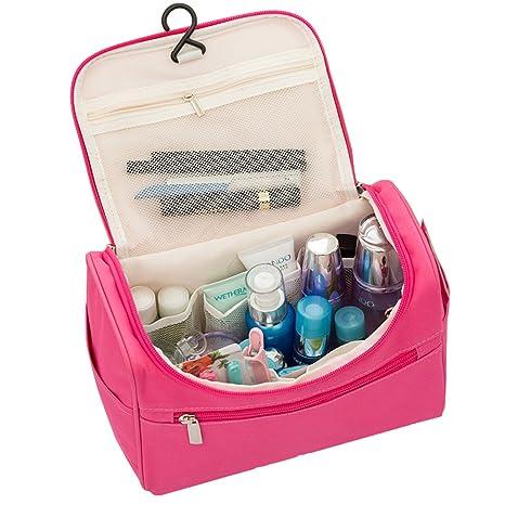 Neceser de aseo de viaje organizadores neceseres bolsas de cosméticos de maquillaje juego Kit bolsa de viaje con asa de transporte para viajes y hogar ...