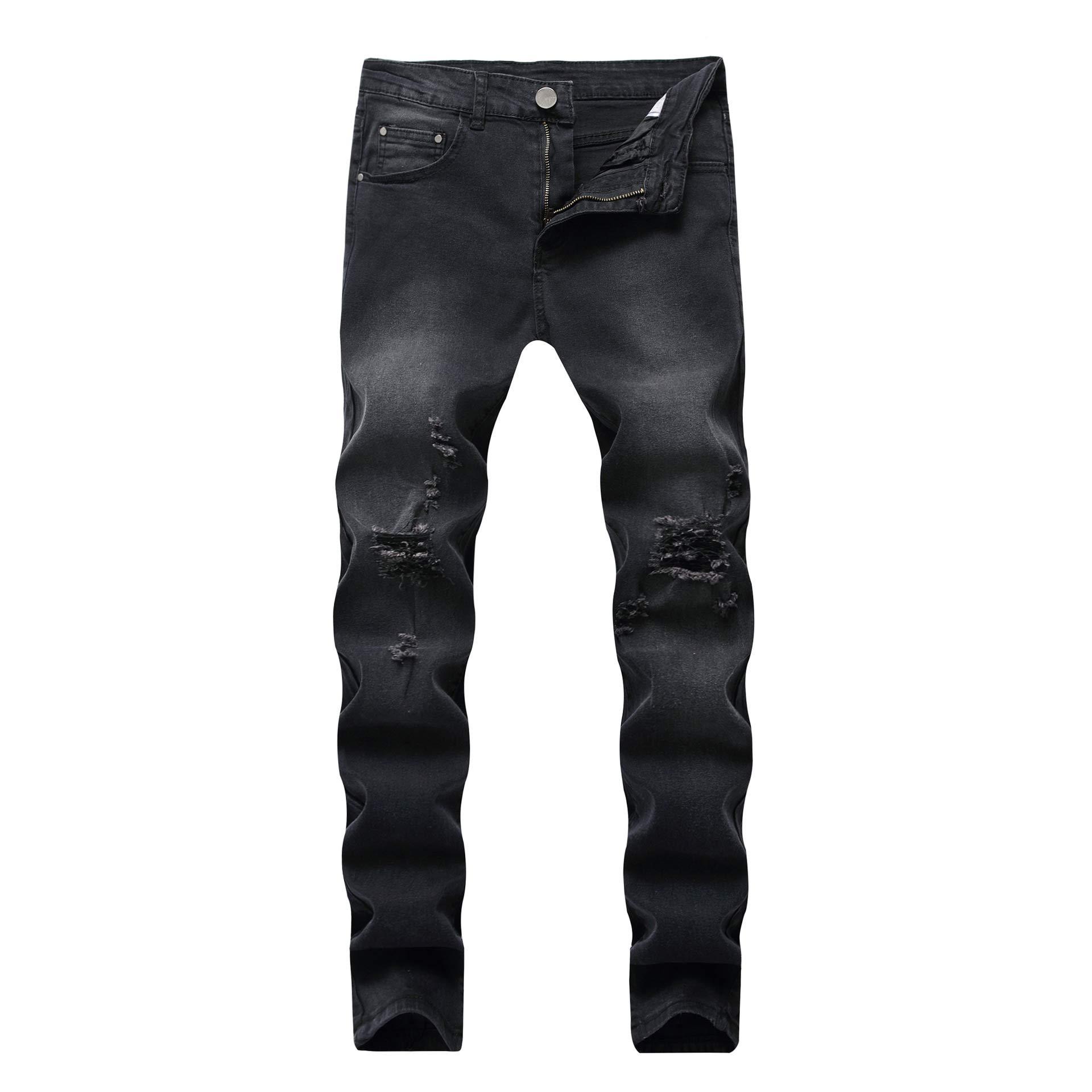 Boy's Dark Grey Stretch Skinny Fit Ripped Destroyed Distressed Fashion Slim Denim Jeans 10 by OBT