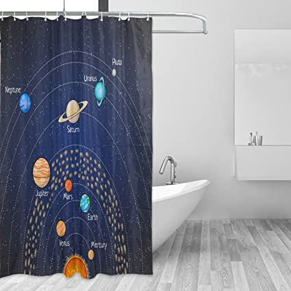 LORVIES Educational Astronomy Planet Shower Curtain Set Polyester Fabric Water Repellant Bathroom Home