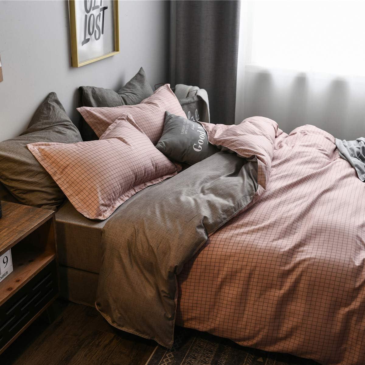 Lurson Blush Pink Gray Plaid Queen Duvet Cover Set Modern Black Mini Grid Geometric Gingham Checker Reversible Bedding Set Full Size Soft Hypoallergenic Microfiber Check Comforter Covers 3pcs