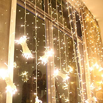 Excelvan 3Mx3M 300LEDs Outdoor/Indoor LED Fairy String Curtain ...